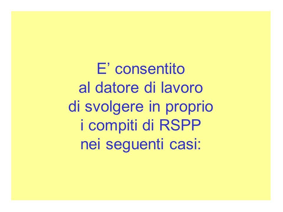 E' consentito al datore di lavoro di svolgere in proprio i compiti di RSPP nei seguenti casi: