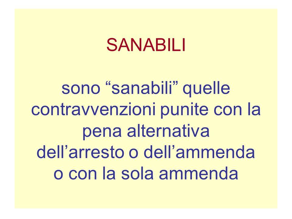 SANABILI sono sanabili quelle contravvenzioni punite con la pena alternativa dell'arresto o dell'ammenda o con la sola ammenda