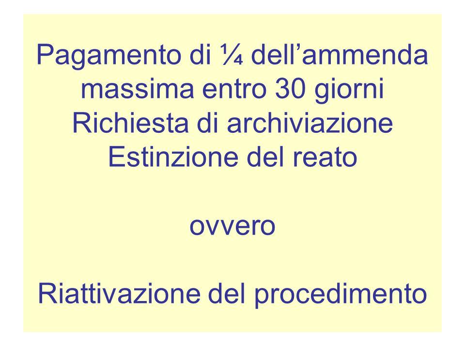 Pagamento di ¼ dell'ammenda massima entro 30 giorni Richiesta di archiviazione Estinzione del reato ovvero Riattivazione del procedimento