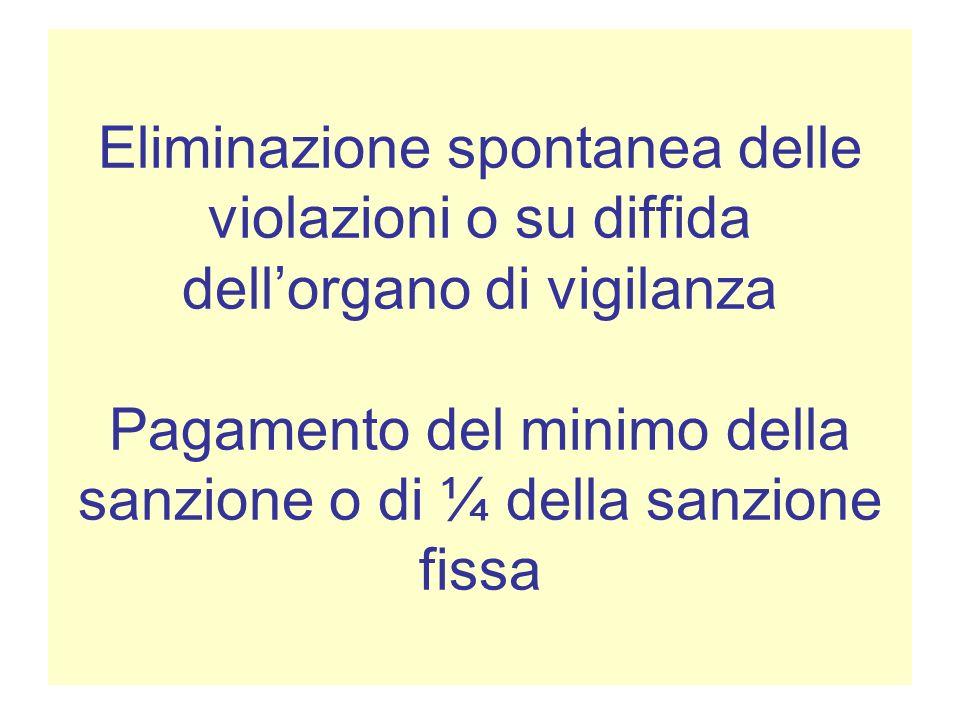 Eliminazione spontanea delle violazioni o su diffida dell'organo di vigilanza Pagamento del minimo della sanzione o di ¼ della sanzione fissa