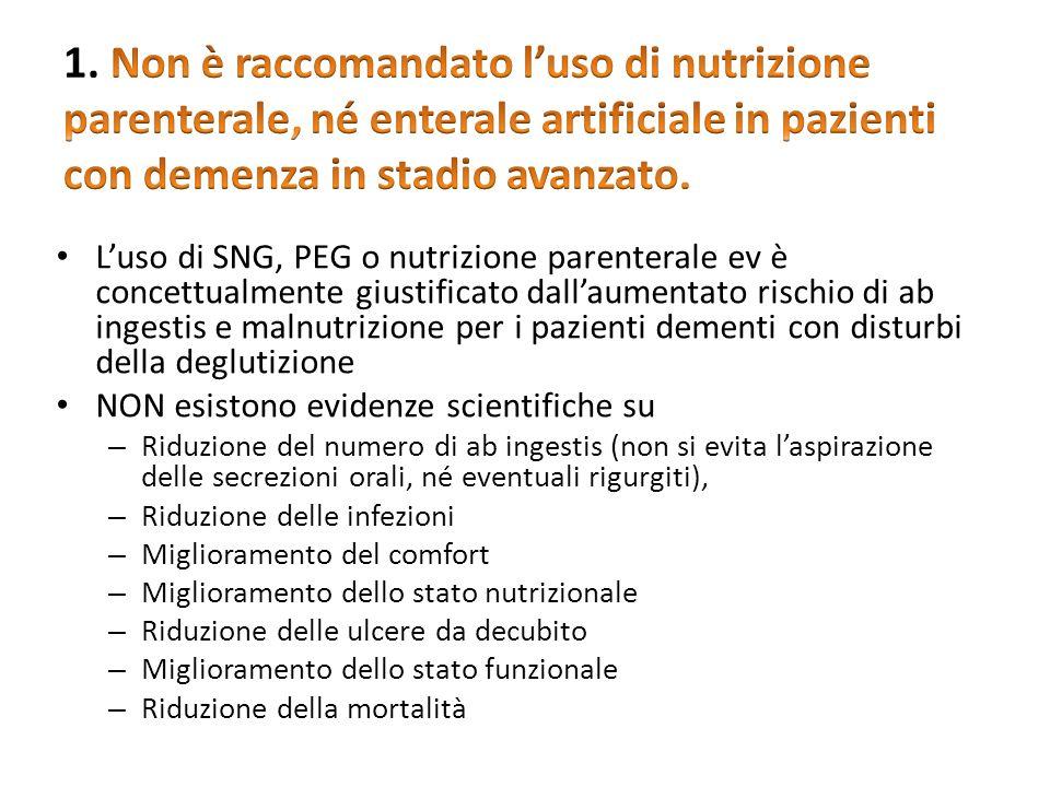 1. Non è raccomandato l'uso di nutrizione parenterale, né enterale artificiale in pazienti con demenza in stadio avanzato.