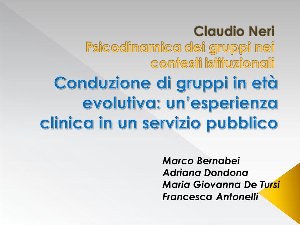 Claudio Neri Psicodinamica dei gruppi nei contesti istituzionali