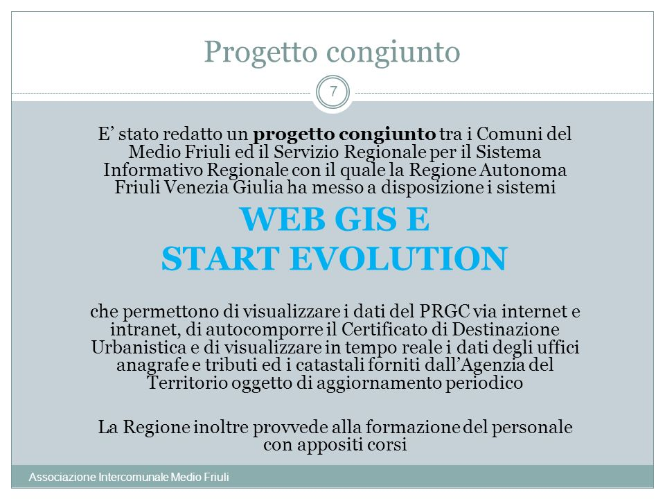 WEB GIS E START EVOLUTION