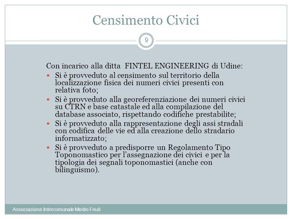 Censimento Civici Con incarico alla ditta FINTEL ENGINEERING di Udine:
