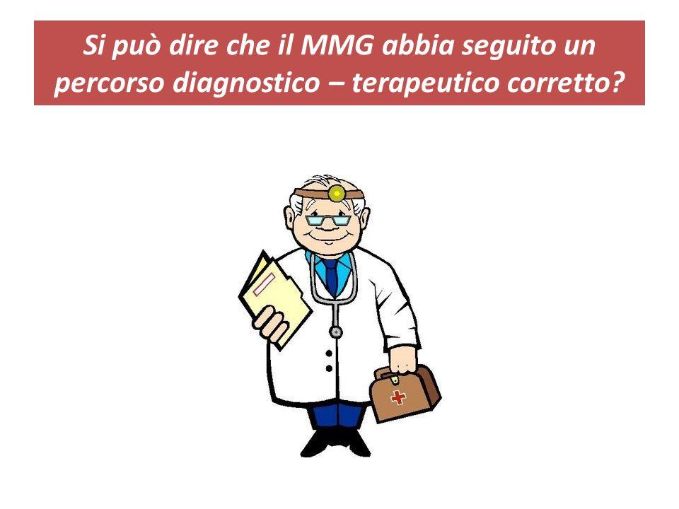 Si può dire che il MMG abbia seguito un percorso diagnostico – terapeutico corretto