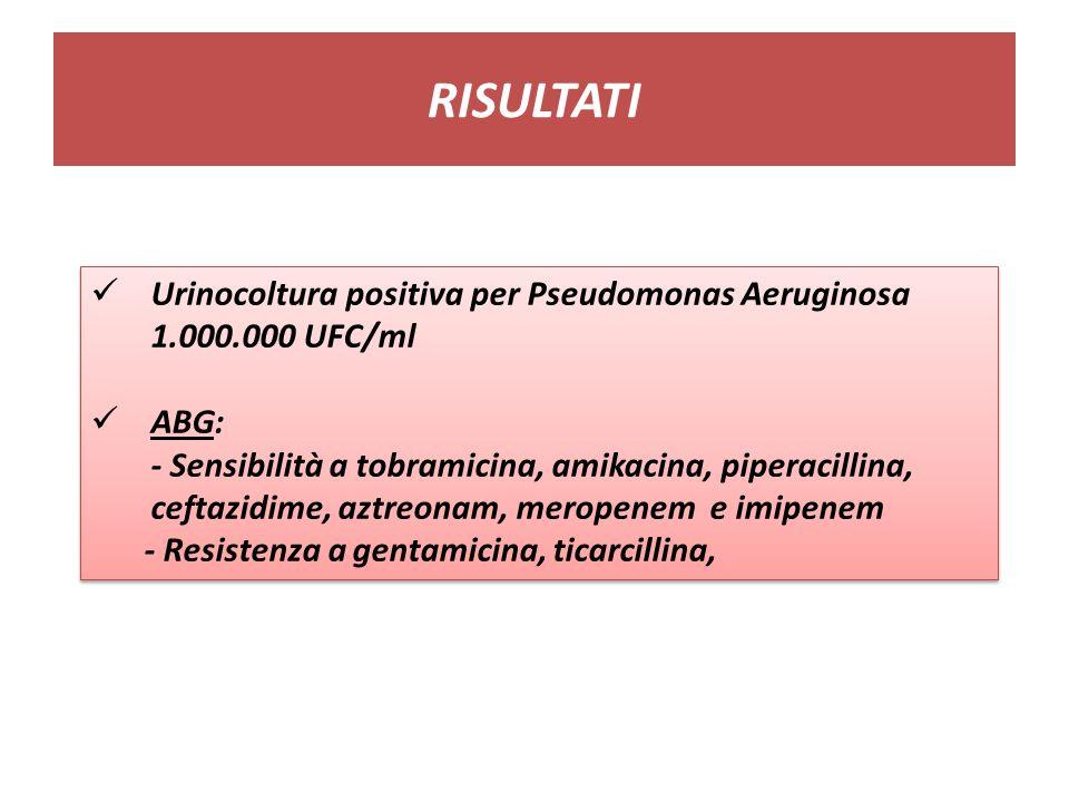 RISULTATI Urinocoltura positiva per Pseudomonas Aeruginosa 1.000.000 UFC/ml. ABG: