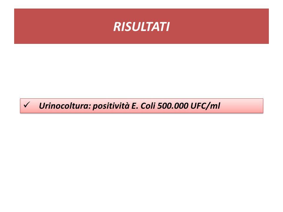 RISULTATI Urinocoltura: positività E. Coli 500.000 UFC/ml