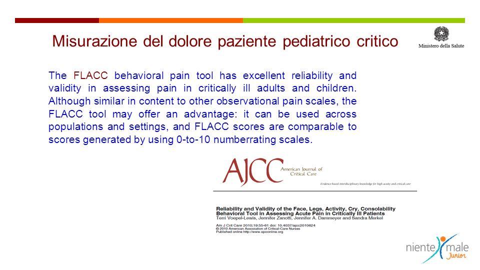 Misurazione del dolore paziente pediatrico critico