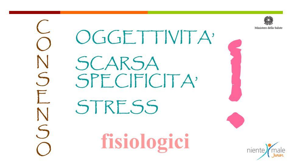 ! CONSENSO OGGETTIVITA' SCARSA SPECIFICITA' STRESS fisiologici 6