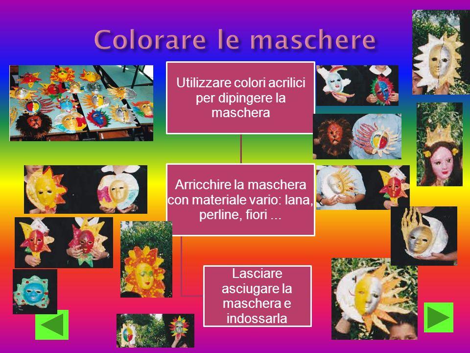 Colorare le maschere Utilizzare colori acrilici per dipingere la maschera. Arricchire la maschera con materiale vario: lana, perline, fiori ...
