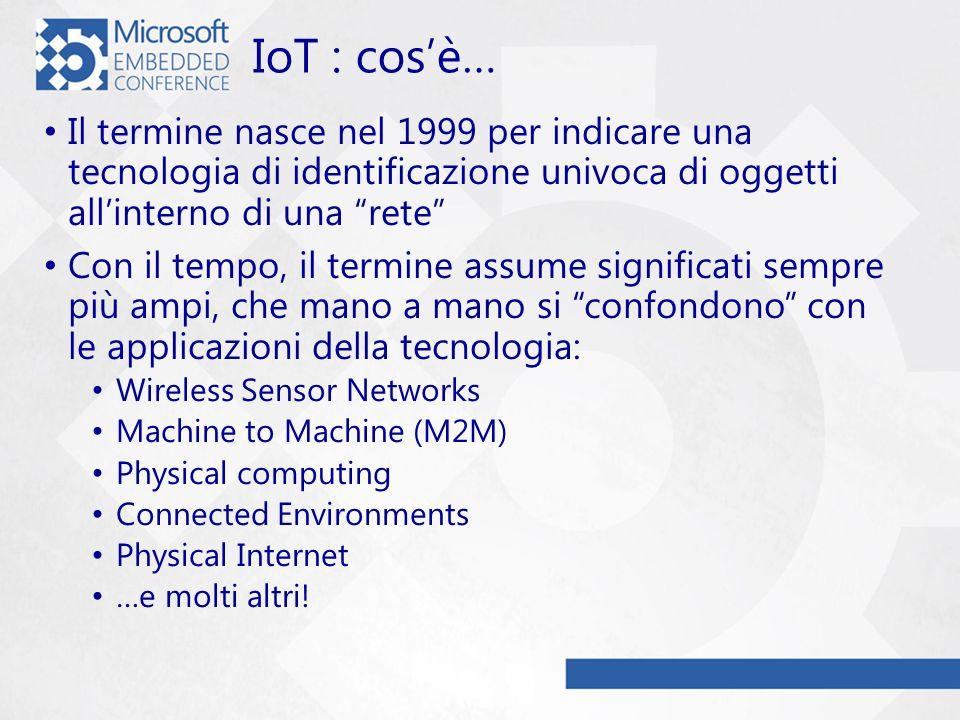 IoT : cos'è… Il termine nasce nel 1999 per indicare una tecnologia di identificazione univoca di oggetti all'interno di una rete