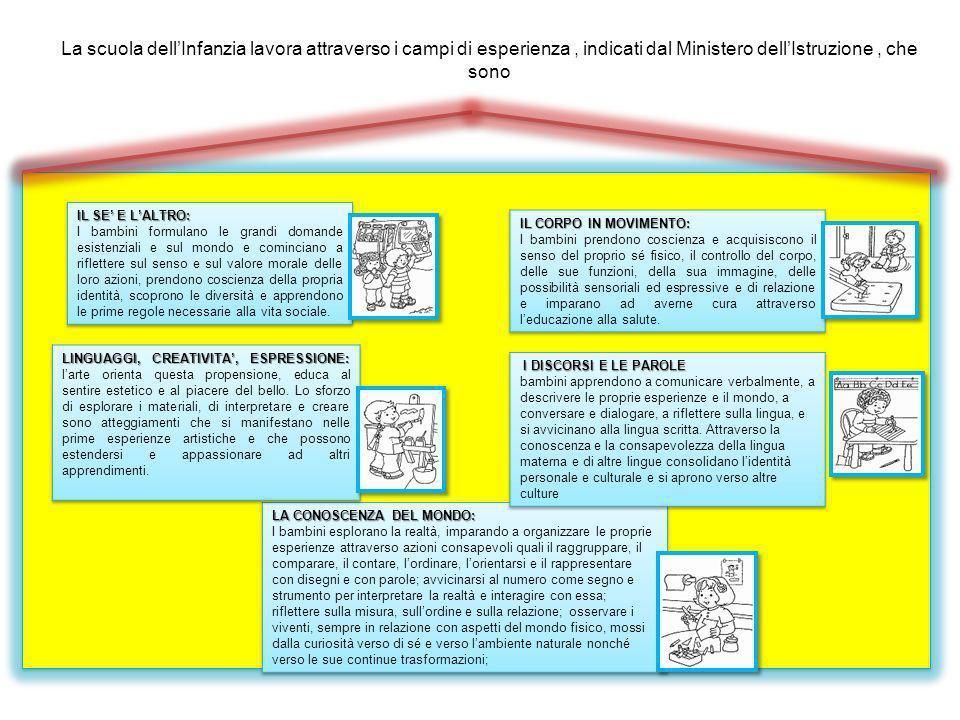 La scuola dell'Infanzia lavora attraverso i campi di esperienza , indicati dal Ministero dell'Istruzione , che sono