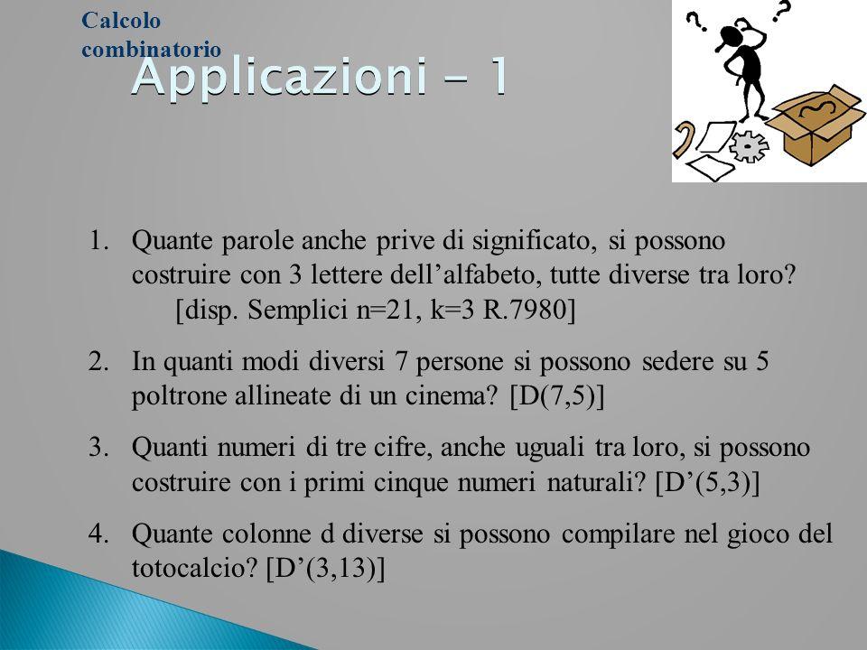 Calcolo combinatorioApplicazioni - 1.