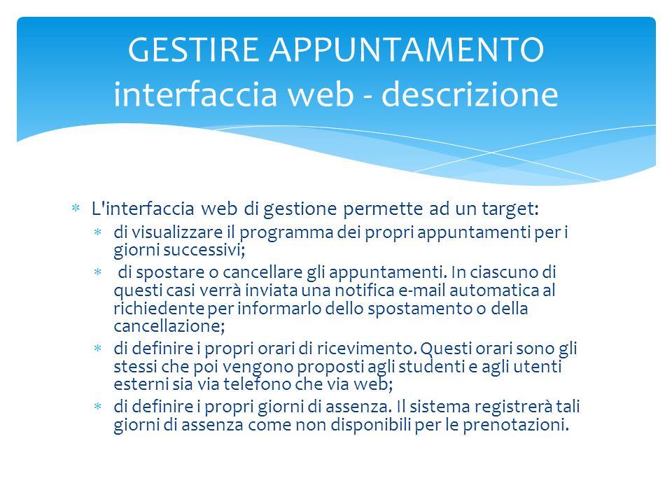 GESTIRE APPUNTAMENTO interfaccia web - descrizione
