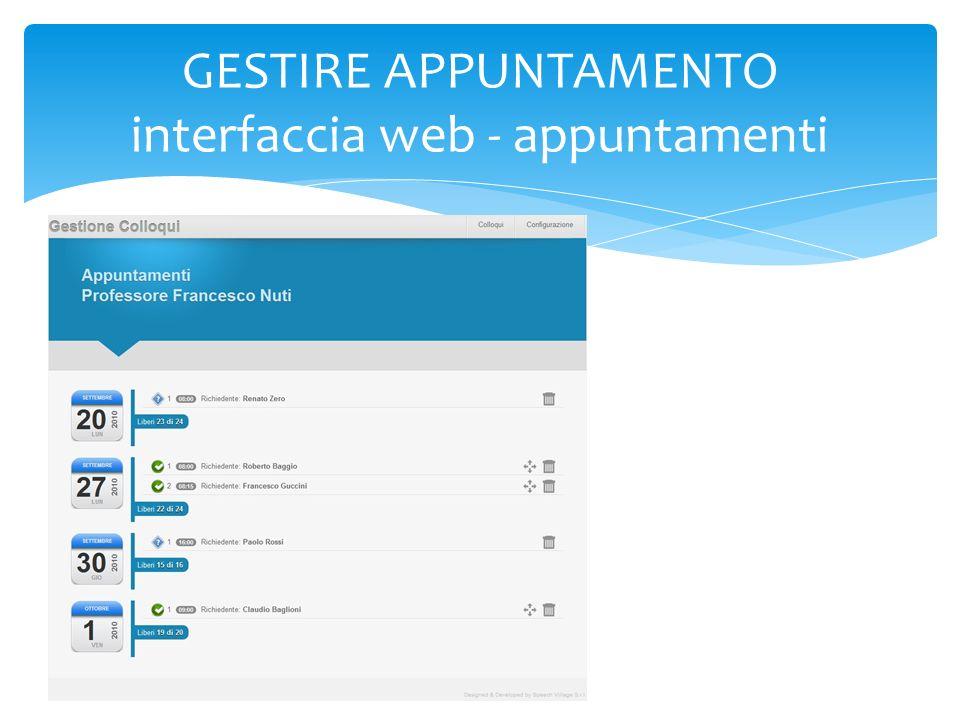 GESTIRE APPUNTAMENTO interfaccia web - appuntamenti
