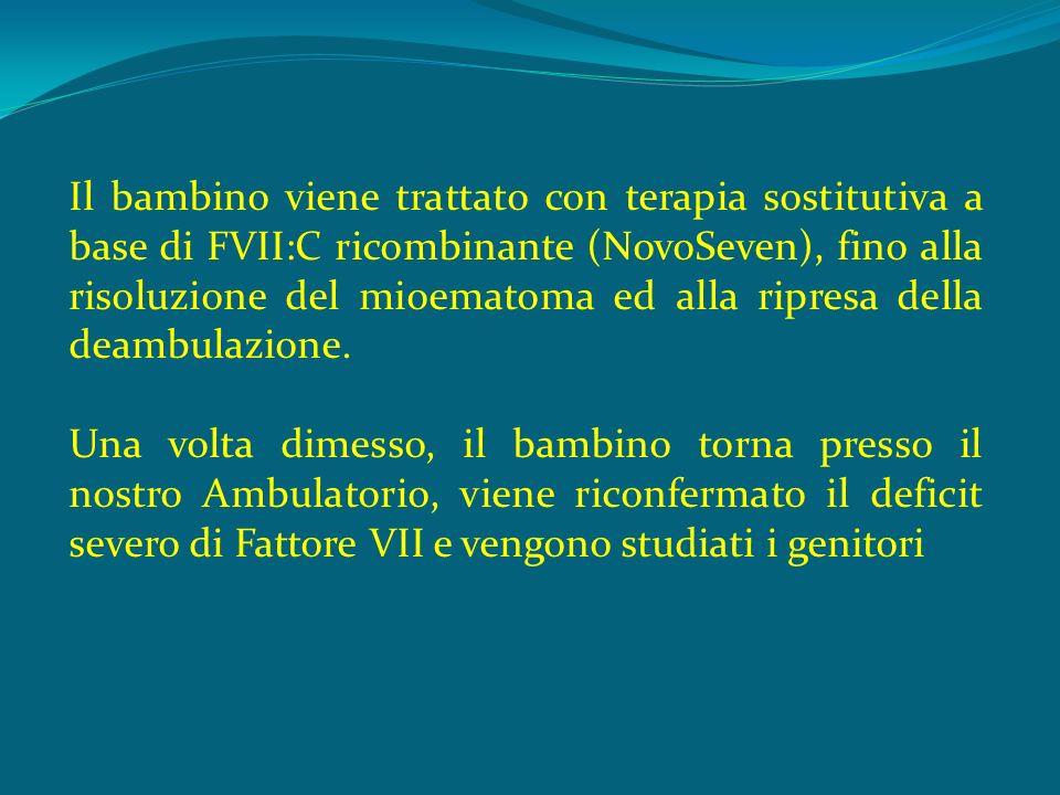 Il bambino viene trattato con terapia sostitutiva a base di FVII:C ricombinante (NovoSeven), fino alla risoluzione del mioematoma ed alla ripresa della deambulazione.
