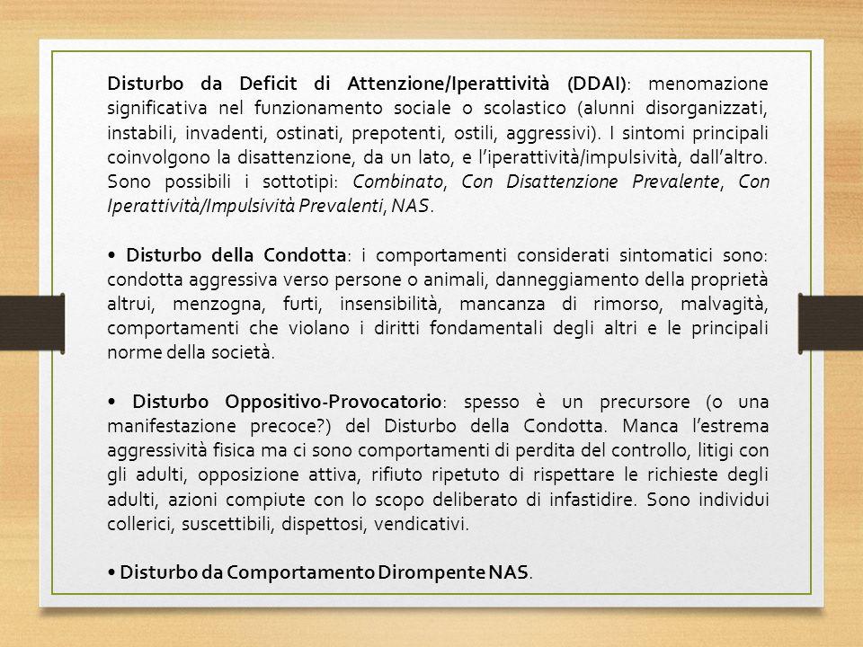 Disturbo da Deficit di Attenzione/Iperattività (DDAI): menomazione significativa nel funzionamento sociale o scolastico (alunni disorganizzati, instabili, invadenti, ostinati, prepotenti, ostili, aggressivi). I sintomi principali coinvolgono la disattenzione, da un lato, e l'iperattività/impulsività, dall'altro. Sono possibili i sottotipi: Combinato, Con Disattenzione Prevalente, Con Iperattività/Impulsività Prevalenti, NAS.