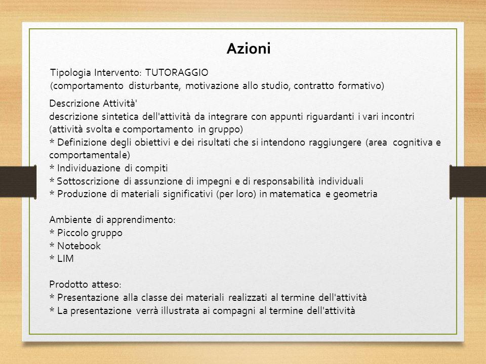 Azioni Tipologia Intervento: TUTORAGGIO