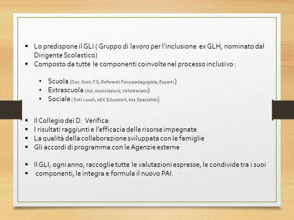 Lo predispone il GLI ( Gruppo di lavoro per l'inclusione ex GLH, nominato dal Dirigente Scolastico)