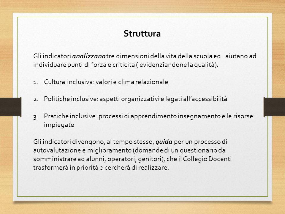 Struttura Gli indicatori analizzano tre dimensioni della vita della scuola ed aiutano ad.