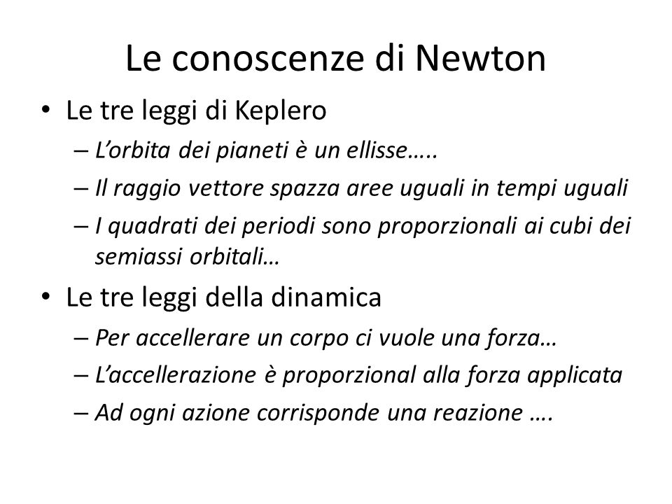 Le conoscenze di Newton