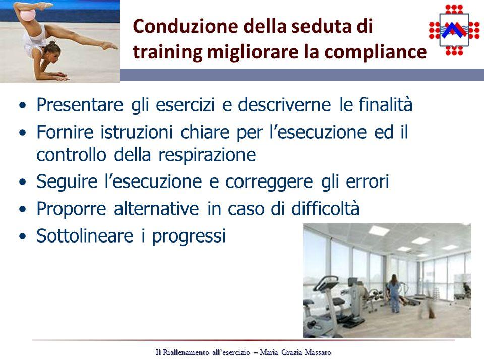 Conduzione della seduta di training migliorare la compliance