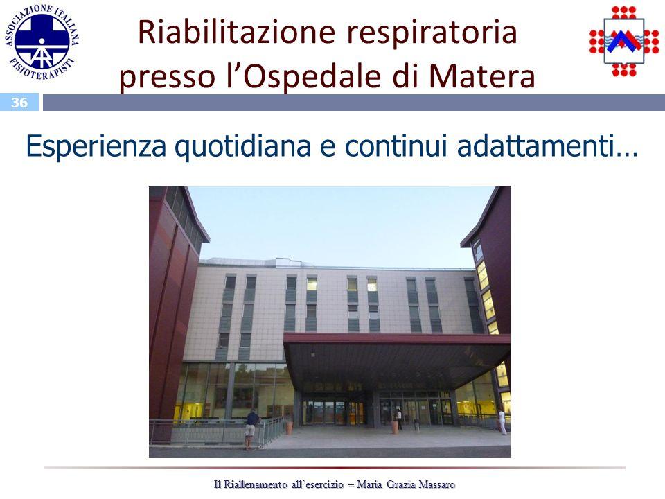 Riabilitazione respiratoria presso l'Ospedale di Matera