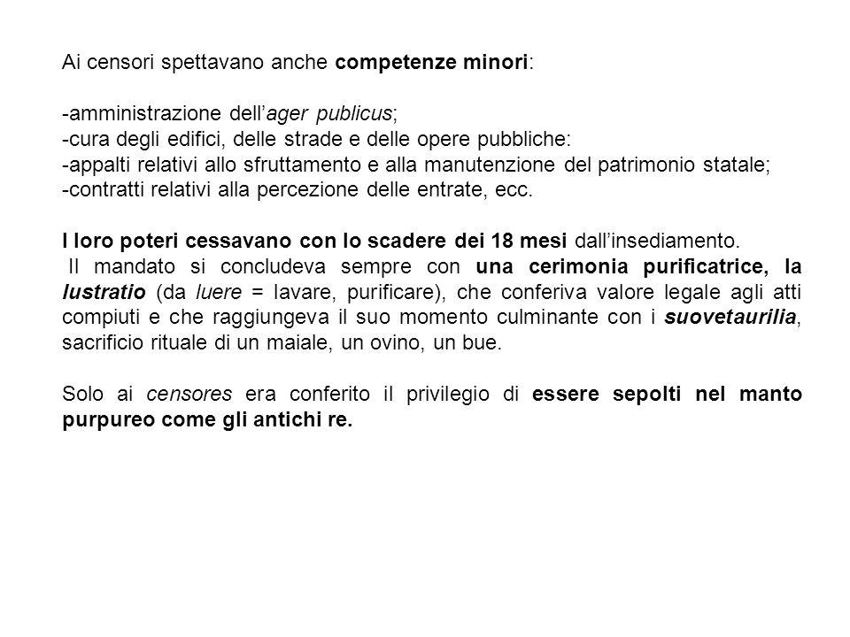 Ai censori spettavano anche competenze minori: