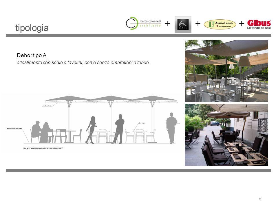 tipologia Dehor tipo A allestimento con sedie e tavolini, con o senza ombrelloni o tende
