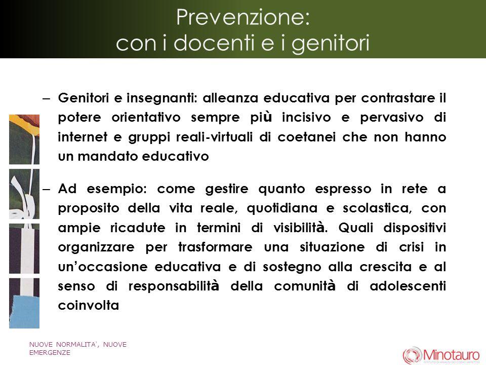 Prevenzione: con i docenti e i genitori