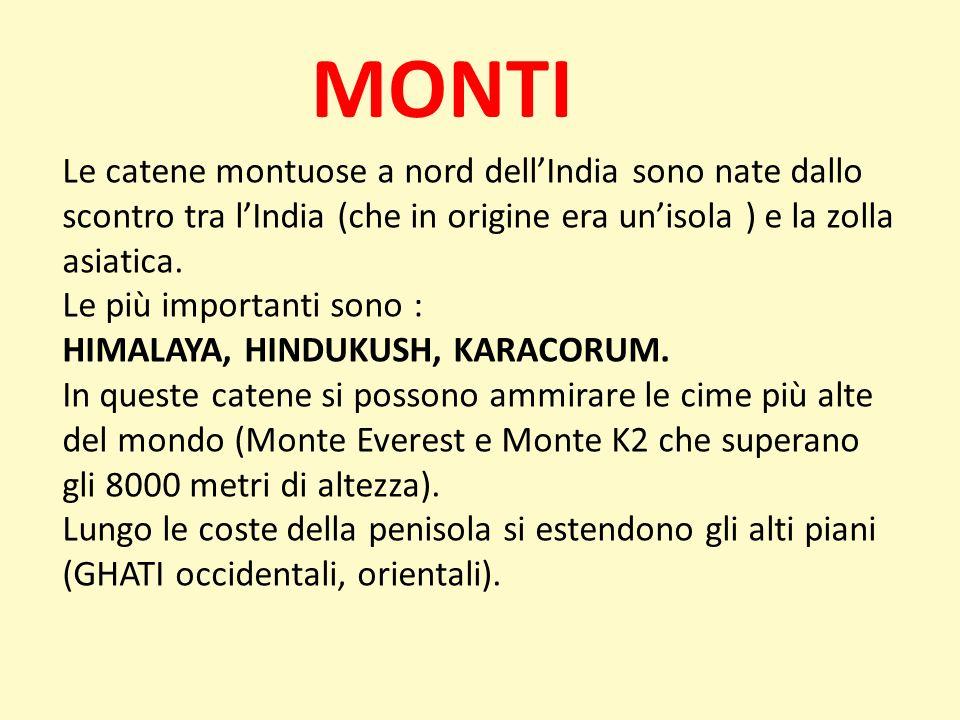 MONTI Le catene montuose a nord dell'India sono nate dallo scontro tra l'India (che in origine era un'isola ) e la zolla asiatica.