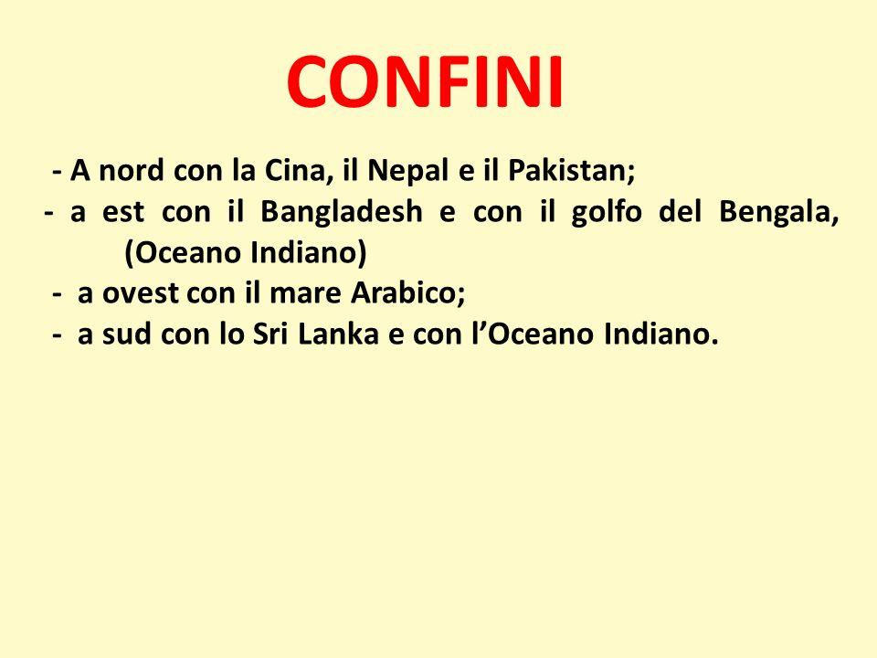CONFINI - A nord con la Cina, il Nepal e il Pakistan;