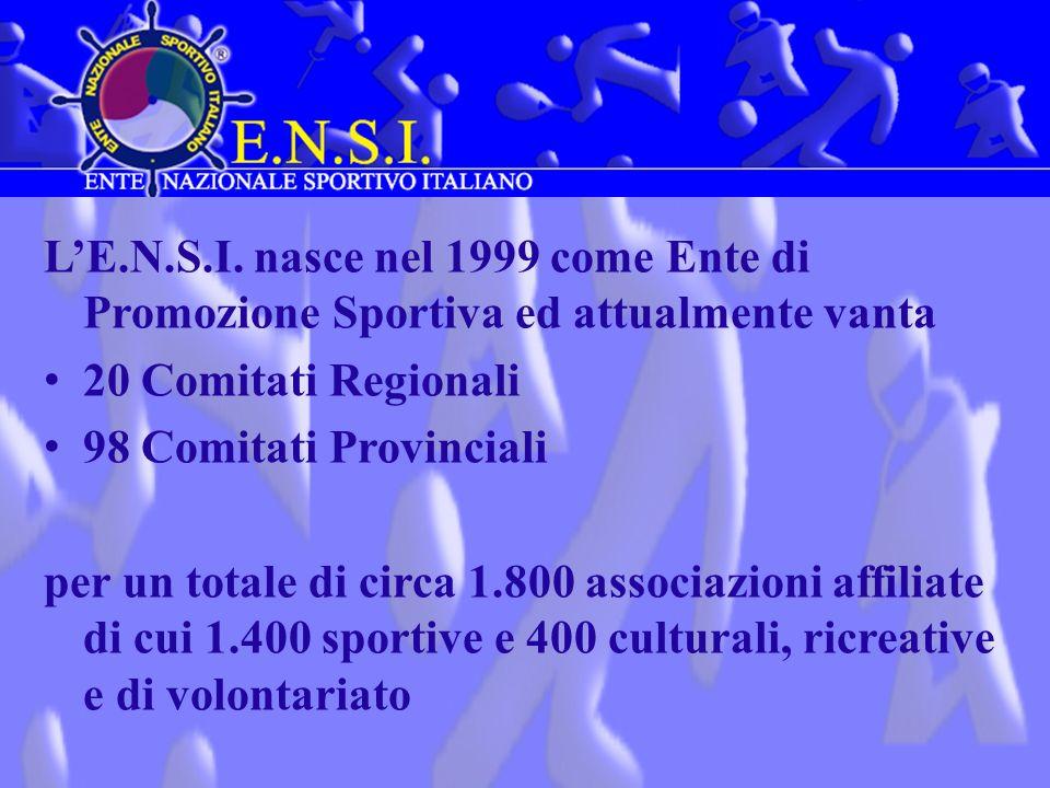 L'E.N.S.I. nasce nel 1999 come Ente di Promozione Sportiva ed attualmente vanta