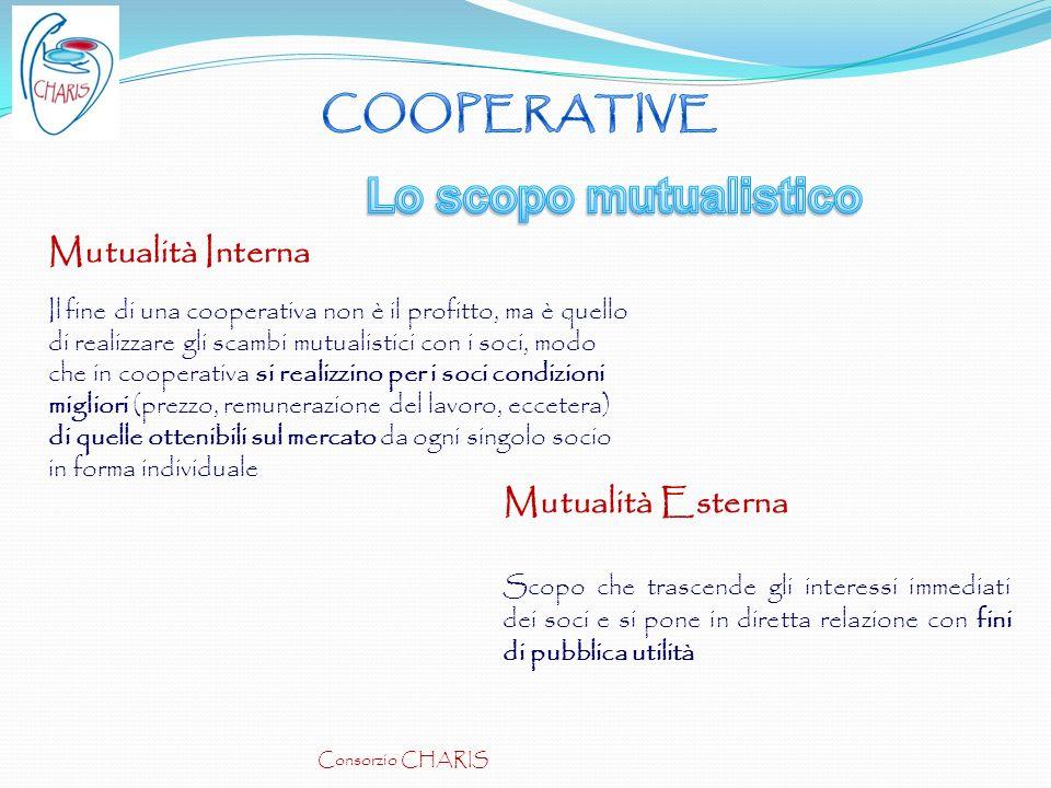 Lo scopo mutualistico COOPERATIVE Mutualità Interna Mutualità Esterna