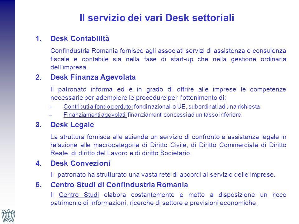 Il servizio dei vari Desk settoriali