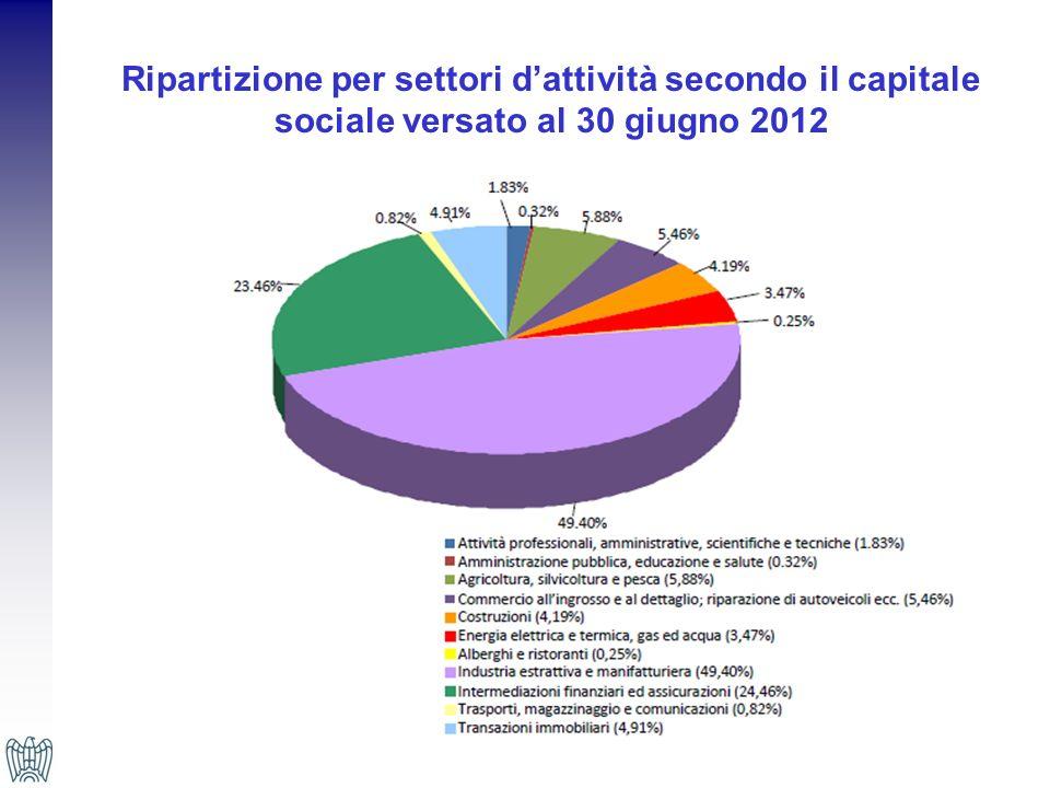 Ripartizione per settori d'attività secondo il capitale sociale versato al 30 giugno 2012