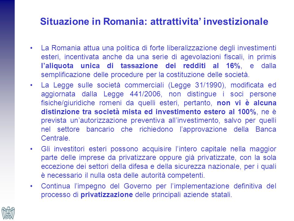 Situazione in Romania: attrattivita' investizionale