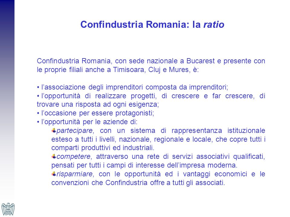 Confindustria Romania: la ratio