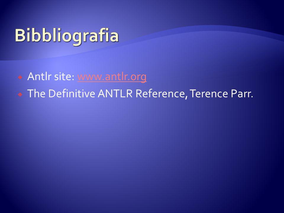 Bibbliografia Antlr site: www.antlr.org