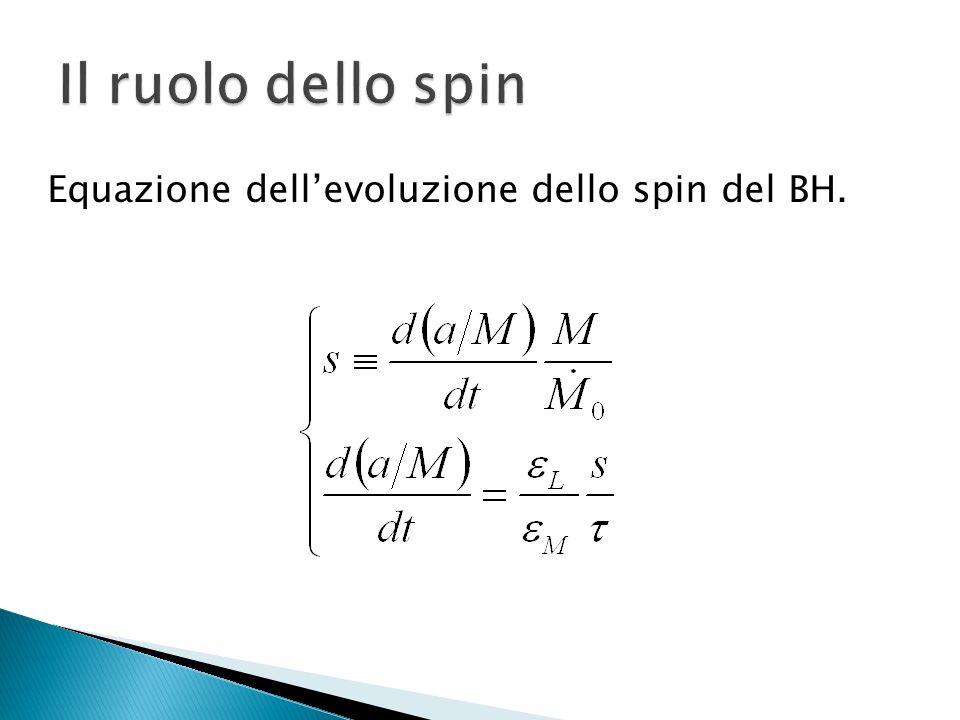 Il ruolo dello spin Equazione dell'evoluzione dello spin del BH.