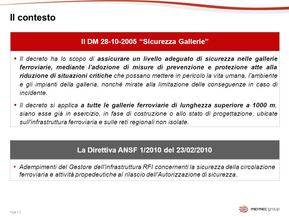 Il contesto Il DM 28-10-2005 Sicurezza Gallerie