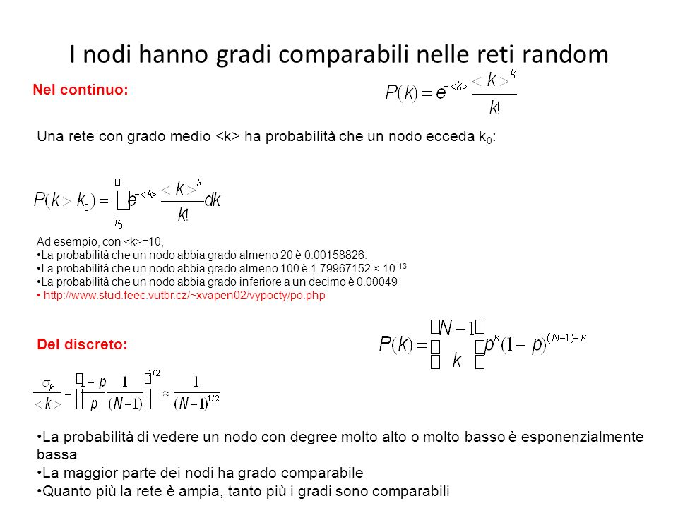 I nodi hanno gradi comparabili nelle reti random