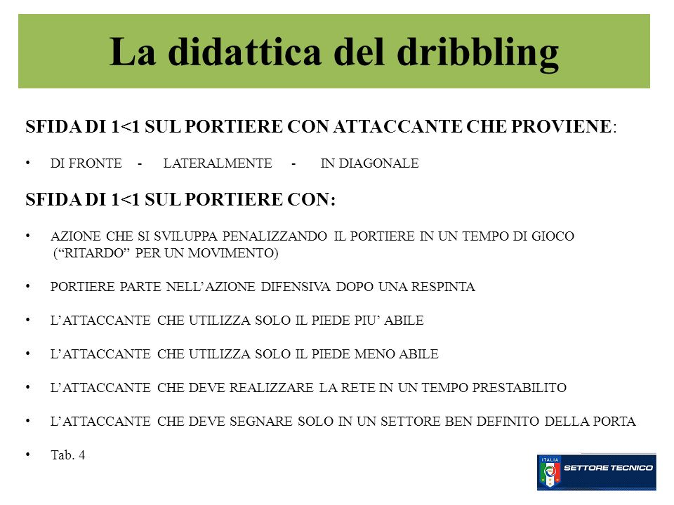 La didattica del dribbling