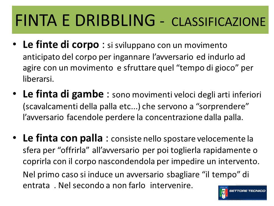 FINTA E DRIBBLING - CLASSIFICAZIONE