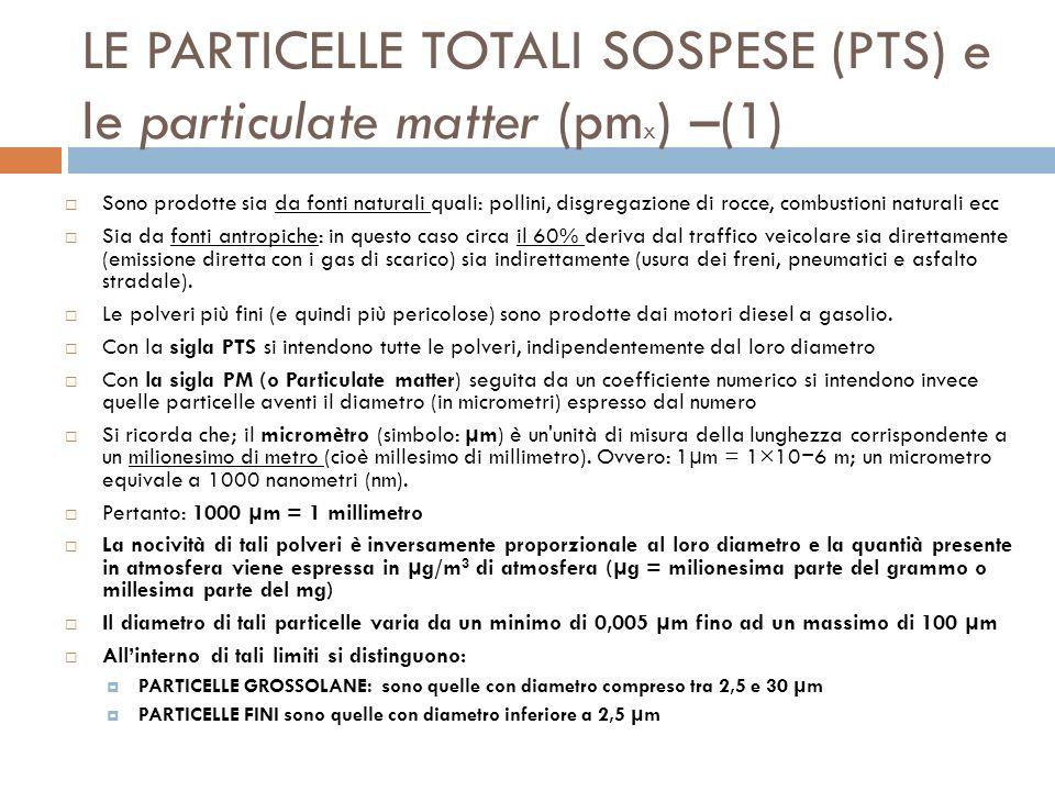 LE PARTICELLE TOTALI SOSPESE (PTS) e le particulate matter (pmx) –(1)