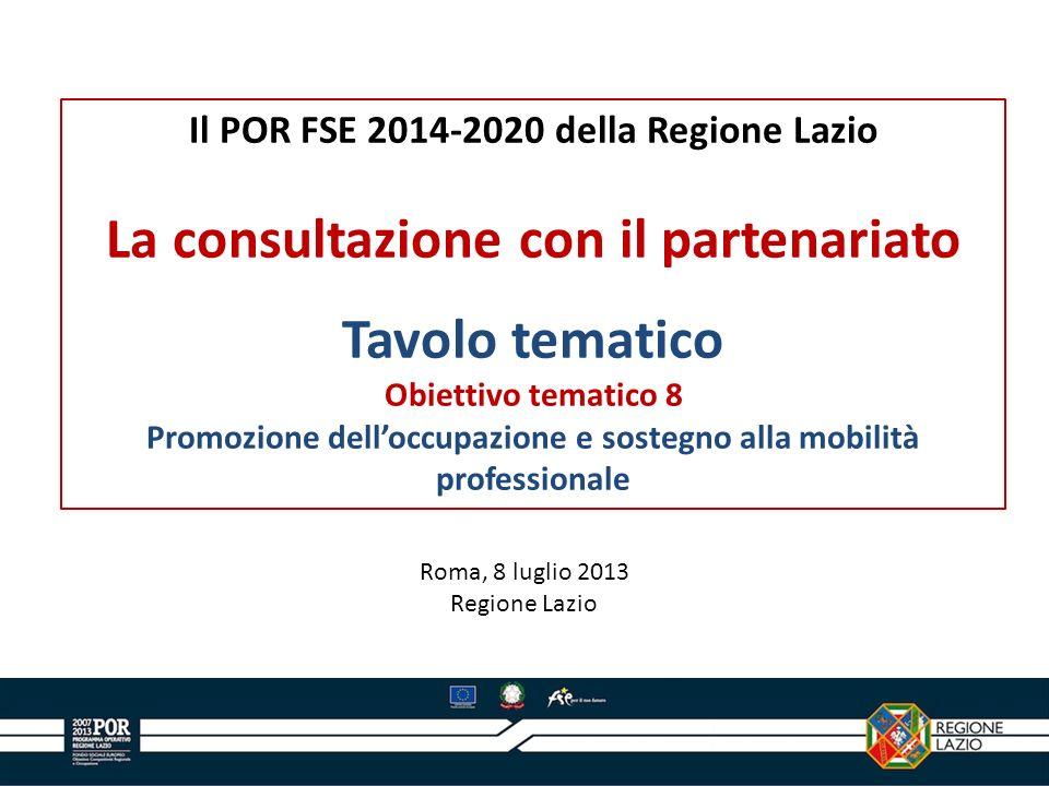 La consultazione con il partenariato Tavolo tematico