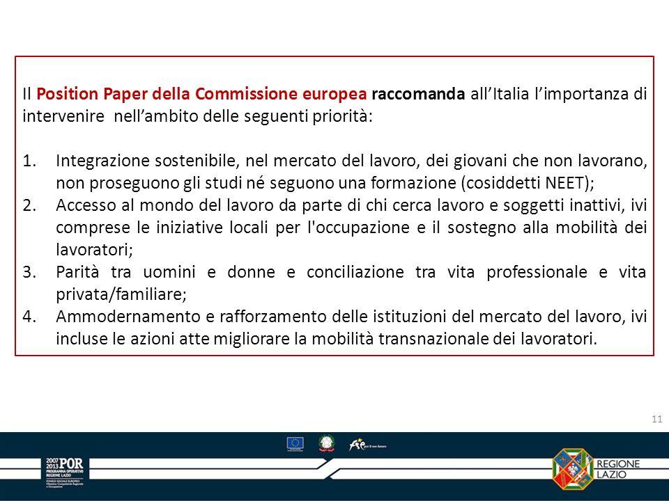 Il Position Paper della Commissione europea raccomanda all'Italia l'importanza di intervenire nell'ambito delle seguenti priorità: