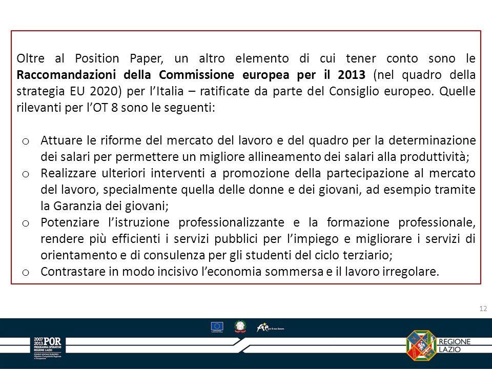 Oltre al Position Paper, un altro elemento di cui tener conto sono le Raccomandazioni della Commissione europea per il 2013 (nel quadro della strategia EU 2020) per l'Italia – ratificate da parte del Consiglio europeo. Quelle rilevanti per l'OT 8 sono le seguenti:
