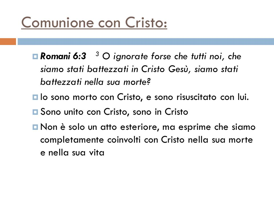 Comunione con Cristo: