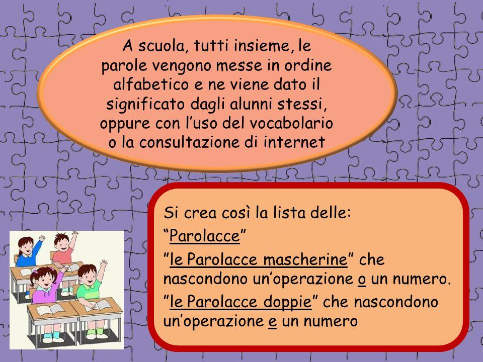 A scuola, tutti insieme, le parole vengono messe in ordine alfabetico e ne viene dato il significato dagli alunni stessi, oppure con l'uso del vocabolario o la consultazione di internet